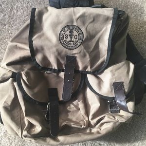 Vintage Sierra Club Tan Sport Backpack.